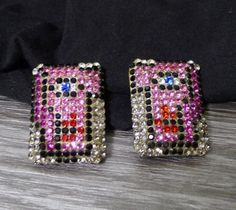 Sonia-Demaria-Swarovski-Crystal-Clip-On-Earrings-Cubism-Face-Signed-80-039-s-Italy