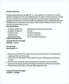 Assistant Restaurant Manager Resume Prepossessing Hr Assistant Cv Template  Hiring Manager Resume  The Hr Team Is .