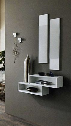 ITs a nice Disgen of home. Hallway Decorating, Entryway Decor, Interior Decorating, Wall Decor, Wall Shelves Design, Wall Design, House Design, Home Decor Furniture, Furniture Design