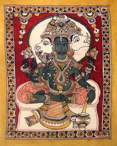 Kalamkari Painting, Madhubani Painting, Hanuman, Durga, Indian Gods, Indian Art, King Ravana, Painting Styles, Demon King