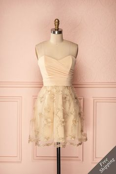 Goldina - Special occasion golden bustier dress with flower embroidery