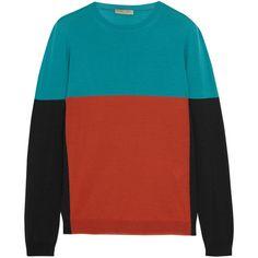 Bottega Veneta Color-block merino wool sweater ($930) ❤ liked on Polyvore featuring tops, sweaters, jumpers, blue, bottega veneta, red jumper, graphic sweaters, merino sweater and color block top