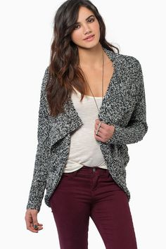 cozy cardigan with burgundy pants