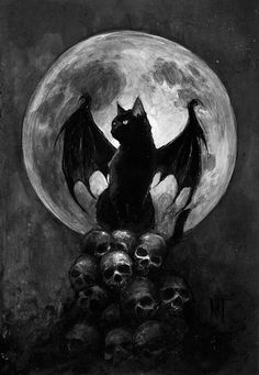 This is a black cat with dragon wings ^^ - Animals - Katzen Chat Halloween, Creepy Halloween, Art Noir, Arte Obscura, Arte Horror, Skull Art, Cat Skull, Fantasy Creatures, Oeuvre D'art