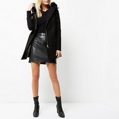Black faux fur trim hooded coat - coats - coats / jackets - women