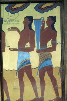 Servants with food and drink, fresco in Palace of Knossos, Crete, Greece, Minoan civilization, 18th-15th century BC (photo)