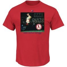 Ozzie Smith St. Louis Cardinals Majestic Cooperstown Genuine Player T-Shirt - Red