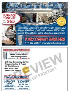 Send out Fall Tune-Up post cards early in the season and build your Maintenance Contract business. HVAC Fall Furnace Tune-Up Sales Postcard #1 | Value Printing | HVAC Postcard