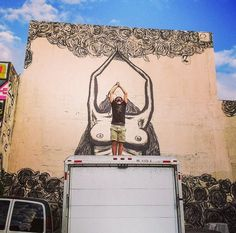 Luca Zamoc with his work in Miami, 12/14 (LP)
