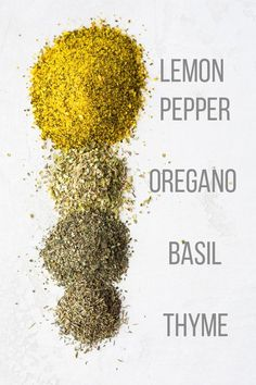 Lemon herb seasoning recipe is a simple spice blend you can use on fish, chicken and potatoes. Prep a big batch and you can store it for up to a year! Low carb, gluten-free, vegan and only five ingredients. Homemade Spice Blends, Homemade Spices, Homemade Seasonings, Spice Mixes, Spice Rub, Homemade Gifts, Lemon Herb Seasoning Recipe, Dry Rub Recipes, Spices And Herbs