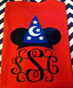 Monogram Mickey Mouse Fantasia design on front by BurlapandLaceSC1