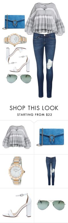 """""""Untitled #3517"""" by dkfashion-658 ❤ liked on Polyvore featuring Gucci, Bulgari, Frame Denim, My Delicious and Ray-Ban"""