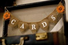 Card suitcase with burlap banner