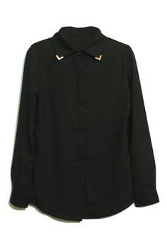 Metal Pointed Collar Black Blouse