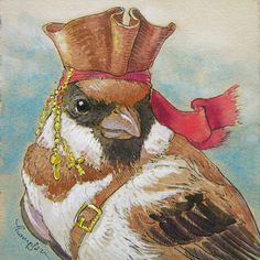 I started making sparrow art, and couldn't leave out the most infamous Sparrow of all! Captain Jack may be the worst bird you've ever heard of, but you HAVE heard of him!