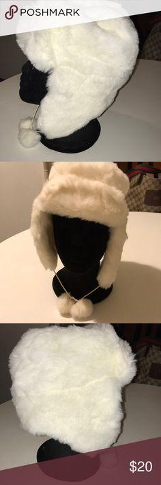 ba878118 GAP Trapper hat Trapper styled white faux fur hat. Neck tie with pom poms.