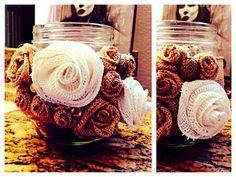 Embellished Burlap Mason Jar.    #embellished #burlap #mason #jar #masonjar #youcanbuyme #brffco #forsale #gift #gifting