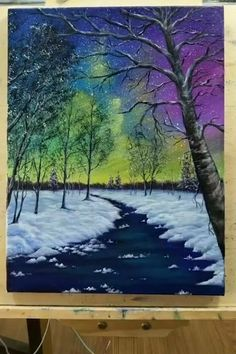 Easy Canvas Art, Easy Canvas Painting, Light Painting, Painting Northern Lights, Easy Art, Diy Canvas, Oil Paintings, Acrylic Painting Trees, Umbrella Painting