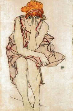 """""""Seated Young Lady"""" by Egon Schiele, 1917. I have a print of this on my bedroom dresser, face palming and quietly judging. I love her."""