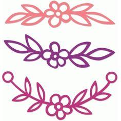 Silhouette Design Store - View Design #73291: floral border set