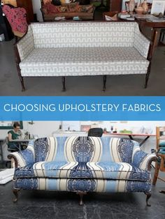 Hmmm once upon a time I went through a very intense reupholstery phase. Time to reignite? ---- Great tips on choosing an upholstery fabric!