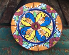 """Antique Talavera 8-1/2"""" Hand Painted Plate Wall Hanging, Spanish Majolica Ceramics, Rustic Decor Plate Wall, Plates On Wall, Hand Painted Plates, Decorative Plates, 90 Day Plan, Old Plates, Ranch Decor, Hacienda Style, Spanish Style"""