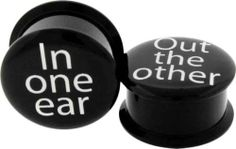 """black acrylic plugs in one ear out the other 2G 0 7/16 1/2 5/8 3/4 7/8"""" tunnels"""