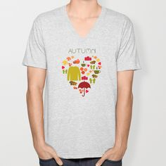 Love autumn V-neck T-shirt by Miracle - $24.00