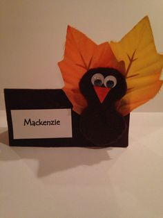 Thanksgiving place cards.  Card stock Fall leaves Felt Eyes