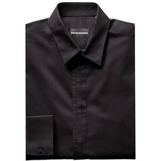 Emporio Armani Dress Shirt ($168) ❤ liked on Polyvore featuring men's fashion, men's clothing, men's shirts, men's dress shirts, black, mens cotton shirts, mens print shirts, men's patterned dress shirts, mens dress shirts and mens cotton dress shirts