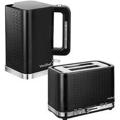 VonShef Premium Black Kettle and Toaster Set - Free 2 Year Warranty