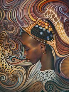 "Ricardo Chávez-Méndez, ""African Spirits"". This image found on Artodyssey. See his website for more artwork: http://www.curvismo.com/"