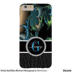Green And Blue Abstract Monogram Barely There iPhone 6 Plus Case Beautiful ladies black leather bottom. And a Elegant image of a fractals and geometric pattern.on this Galaxy 6 case. you can change the case cover to one of many other models
