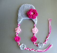 Baby Girl Crochet Hat with Earflaps and by crystalandtaylor, $18.99