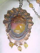 VINTAGE AZTEC MEXICAN COPPER QUARTZ FACE HEAD DRESS PENDANT NECKLACE   #884