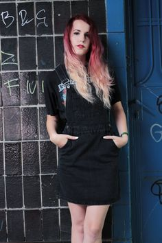 Iron Maiden shirt with black overall skirt, grunge outfit. more photos on frogoncatwalk.com | IG @sofibalogh