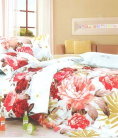 Red Floral Print Double Bed Sheet -  the exclusive collection from designers and boutique brands on Koolkart.com