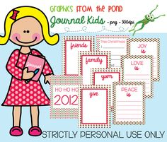 Graphics From the Pond: Journal Kids - Journaling Cards for Kids freebie