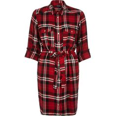 River Island Red check shirt dress ($70) ❤ liked on Polyvore featuring dresses, red, shirt dresses, women, river island dresses, shirt-dress, tie waist dress, river island and checkered dress