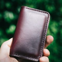 Our burgundy leather business card holder wearing nicely. Time for a meeting!