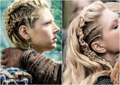 """Season 3 of """"Vikings"""" starts tonight on the History channel! Shown: Katheryn Winnick as """"Lagertha."""" All of her hair designs are created by lead hairstylist, Dee Corcoran. Trending Hairstyles, Fancy Hairstyles, Braided Hairstyles, Viking Hairstyles, Braids For Short Hair, Short Hair Styles, Lagertha Hair, Vikings Lagertha, Viking Braids"""