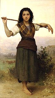 """""""The Shepherdess"""" by Bouguereau. Original painting at Philbrook Art Museum in Tulsa, OK.  A print of this hands in my living room."""