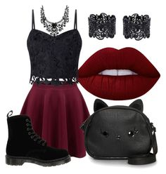 """""""No. 13"""" by kirakirameru04 on Polyvore featuring Lime Crime, Lipsy, Loungefly and Dr. Martens"""