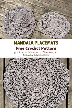 Crochet Mandala Placemats To Decorate Your Table In Style - Knit And Crochet Daily Dress up your table with these elegant crochet mandala placemats. They bring instant style to any space. Crochet Placemat Patterns, Crochet Dishcloths, Crochet Motif, Crochet Doilies, Knit Crochet, Crochet Coaster, Free Doily Patterns, Crochet Hot Pads, Cotton Crochet