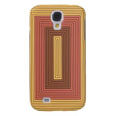 Modern rectangles in gamboge, vermilion Art design Samsung Galaxy S4 Cases (alos on other smartphones, other gifts, and in other color combinations)