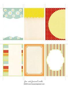 Printable scrapbook journal cards