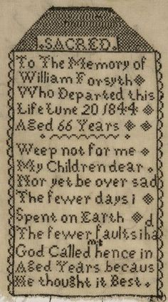 mourning sampler | Antique Victorian Blackwork Mourning Tombstone Sampler - Forsyth ...