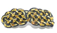 black and yellow celtic knot hair clip by RinceCouture on Etsy