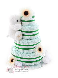 A 4 tier nappy cake makes a great baby shower gift. View our website for alternative nappy cake sizes to suit any budget.