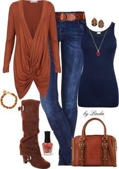 """""""Ginger Snap"""" by lindakol on Polyvore - love this!!!  All my faves:  blue, brown, denim, leather, boots, simple jewelry, tank, even the top & nail polish... classy, sassy, casual & dressy all at the same time.  Fall every day outfit."""